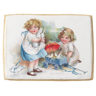 Clapsaddle: Girls Playing with Bunnies Shortbread Cookie