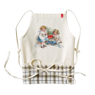 Clapsaddle: Girls Playing with Bunnies Zazzle HEART Apron