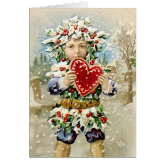 Clapsaddle: Holly Boy with Heart Card