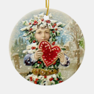 Clapsaddle: Holly Boy with Heart Ceramic Ornament