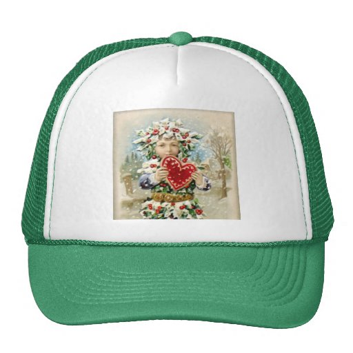 Clapsaddle: Holly Boy with Heart Hats