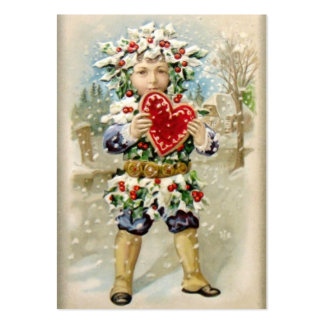 Clapsaddle: Holly Boy with Heart Large Business Card