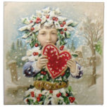 Clapsaddle: Holly Boy with Heart Printed Napkins