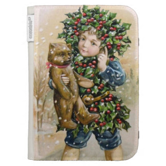 Clapsaddle: Holly Boy with Teddy Case For Kindle