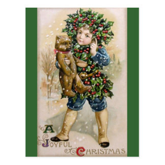 Clapsaddle: Holly Boy with Teddy Postcard