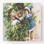 Clapsaddle: Holly Father Wall Clocks