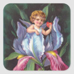 Clapsaddle: Iris de la querube de la flor Calcomanias Cuadradas