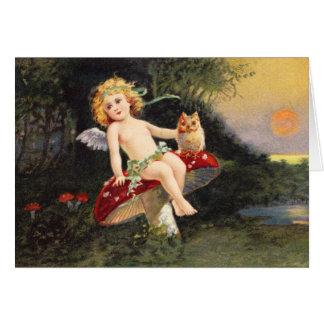 Clapsaddle: Little Cherub on Mushroom Card