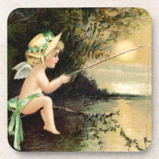 Clapsaddle Little Cherub with Fishing Rod Drink Coaster