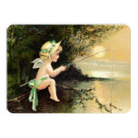 Clapsaddle: Little Cherub with Fishing Rod Personalized Invite