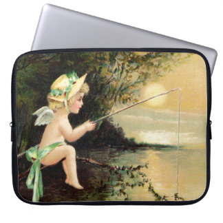 Clapsaddle: Little Cherub with Fishing Rod Laptop Computer Sleeves