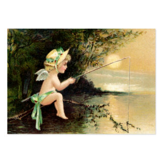 Clapsaddle: Little Cherub with Fishing Rod Large Business Card