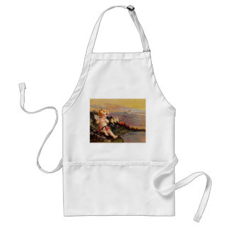 Clapsaddle: Little Cherub with Flute and Birds Adult Apron