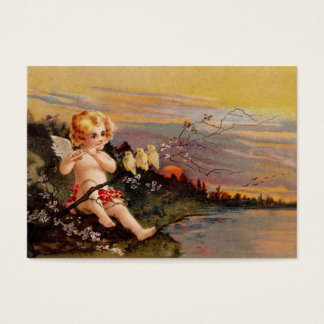 Clapsaddle: Little Cherub with Flute and Birds Business Card