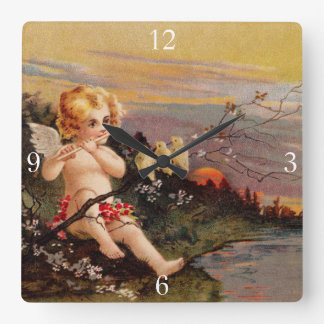 Clapsaddle: Little Cherub with Flute and Birds Square Wall Clocks