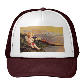 Clapsaddle: Little Cherub with Flute and Birds Trucker Hat