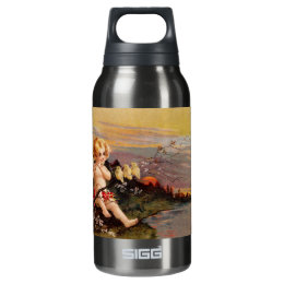 Clapsaddle: Little Cherub with Flute and Birds Insulated Water Bottle