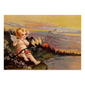 Clapsaddle: Little Cherub with Flute and Birds Large Business Card