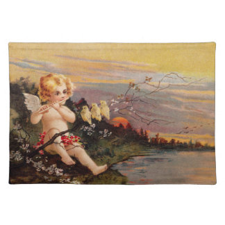 Clapsaddle: Little Cherub with Flute and Birds Place Mats