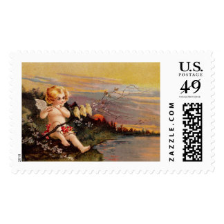 Clapsaddle: Little Cherub with Flute and Birds Postage