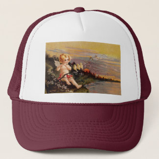 Clapsaddle: Little Cherub with Flute and Birds Trucker Hat