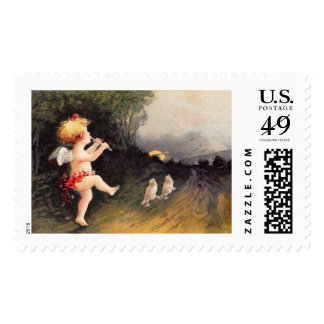 Clapsaddle: Little Cherub with Flute Postage