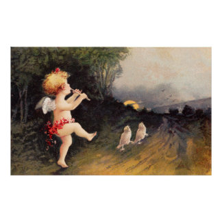 Clapsaddle: Little Cherub with Flute Poster