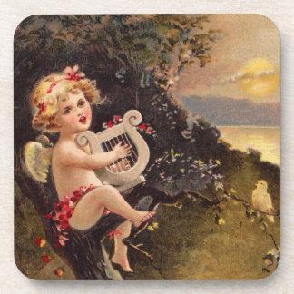 Clapsaddle Little Cherub with Harp Coasters