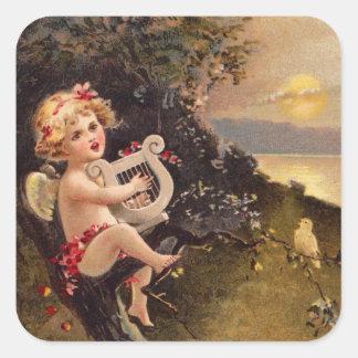 Clapsaddle: Little Cherub with Harp Square Sticker
