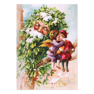 Clapsaddle: Mistletoe Father with Angels Large Business Card
