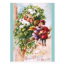 Clapsaddle: Mistletoe Father with Angels Postcard