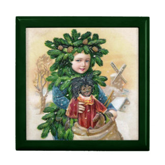 Clapsaddle: Muchacho del abeto con la muñeca Cajas De Regalo