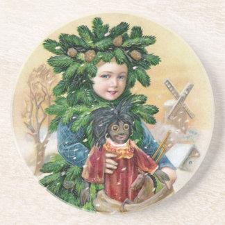 Clapsaddle: Muchacho del abeto con la muñeca Posavasos Personalizados