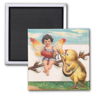 Clapsaddle: Music Making Easter Fairy 2 Inch Square Magnet