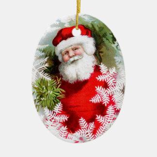 Clapsaddle: Papá Noel con el muérdago Adorno Navideño Ovalado De Cerámica