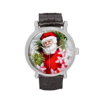 Clapsaddle: Papá Noel con el muérdago Relojes De Mano