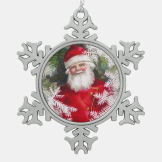 Clapsaddle: Papá Noel con las ramitas del abeto Adorno De Peltre En Forma De Copo De Nieve