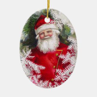 Clapsaddle: Papá Noel con las ramitas del abeto Adorno Navideño Ovalado De Cerámica