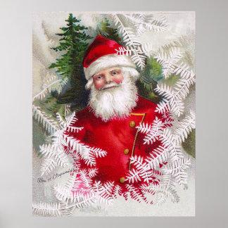 Clapsaddle: Papá Noel con las ramitas del abeto Posters