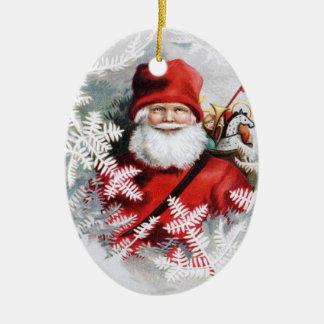 Clapsaddle: Papá Noel con los juguetes y las Adorno Navideño Ovalado De Cerámica