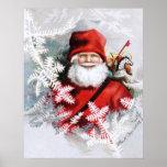 Clapsaddle: Papá Noel con los juguetes y las ramit Posters