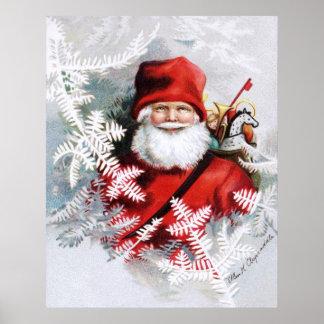 Clapsaddle: Papá Noel con los juguetes y las ramit Póster