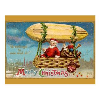 Clapsaddle: Santa Claus in Zeppelin Postcard