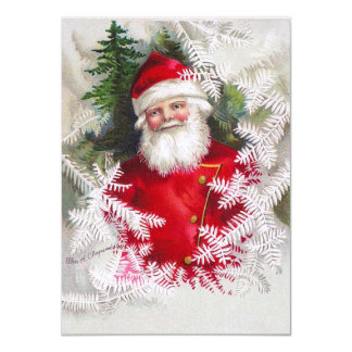 Clapsaddle: Santa Claus with Fir Twigs Personalized Announcements