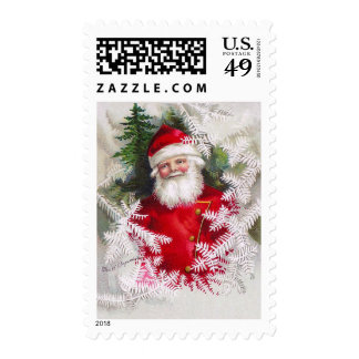 Clapsaddle: Santa Claus with Fir Twigs Postage