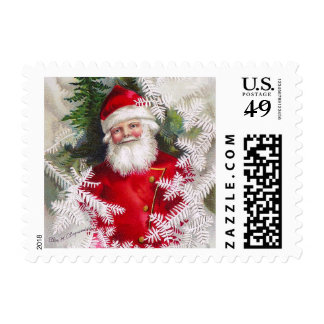 Clapsaddle: Santa Claus with Fir Twigs Postage Stamp