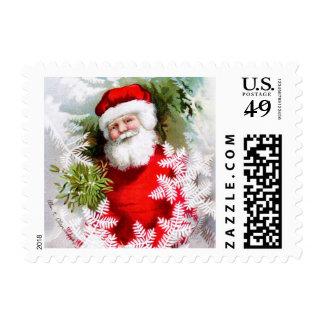 Clapsaddle: Santa Claus with Mistletoe Postage