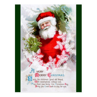 Clapsaddle: Santa Claus with Mistletoe Postcard