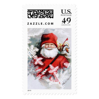 Clapsaddle: Santa Claus with Toys and Fir Twigs Postage Stamp