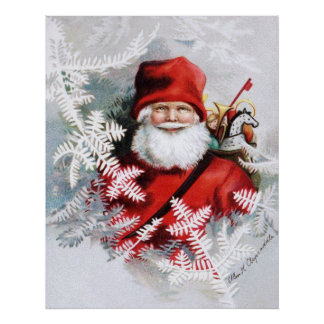 Clapsaddle: Santa Claus with Toys and Fir Twigs Poster